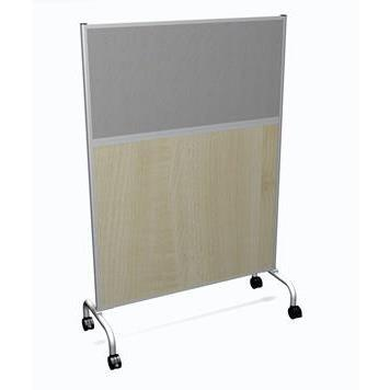 Office Furniture Now Screens Gresham | Floor Standing Mobile Screen with Fabric and Wood Infill